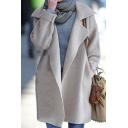 Womens Stylish Simple Chic Plain Lapel Long Sleeve Cardigan Knitwear