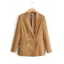 Plain Notched Lapel Collar Three-Button Barrel Cuffs Khaki Casual Blazer with Flap Pockets