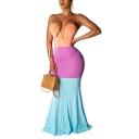 New Fashion Halter Sleeveless Color Block Hollow Twist-Waist Backless Maxi Bodycon Dress
