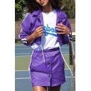 Street Popular Lapel Collar Purple Contrast Stripe Drawstring Hem Cropped Jacket Coat