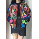 Unique Cat Appliqués Tribal Print Zipper Long Sleeve Street Style Jacket Coat