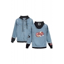 New Stylish Letter KIRBY Printed Ripped Long Sleeve Button Down Hooded Denim Jacket Coat