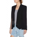 Womens Stylish Lapel Collar Slit Sleeve Open Front Regular Fit Blazer Cape Coat