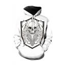 Cool Fashion Skull Printed Long Sleeve White Loose Fit Unisex Drawstring Hoodie