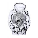 American Popular Rapper Letter Skull 3D Printed Long Sleeve White Loose Pullover Hoodie