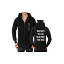 Astroworld WISH YOU WERE HERE Letter Printed Long Sleeve Full Zip Sports Hoodie