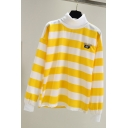 Girl's Letter BC Embroidered High Neck Striped Long Sleeve Yellow Pullover Sweatshirt