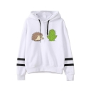 Lovely Hedgehog Cactus Printed Stripe Long Sleeve Loose Casual White Hoodie