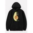 New Popular AVOCADO IS LIFE Letter Avocado Pattern Long Sleeve Pullover Hoodie With Pocket