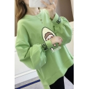 AVOCADO Letter Cartoon Avocado Printed Round Neck High Low Long Sleeve Loose Pullover Sweatshirt