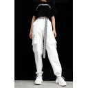 New Trendy High Waist Zippered Elastic Ankle Detail Plain Casual Pants with Pockets