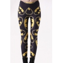 Womens Black Fashion Print Ankle Length Leggings