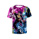 Hot Popular JoJo Theme Comic Figure Print Summer Short Sleeve Round Neck T-Shirt