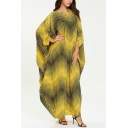 Womens Fashion Round Neck Batwing Sleeve Wavy Print Yellow Shift Asymmetrical Maxi Dress