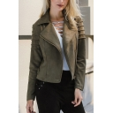 Stylish Notched Lapel Suede Zip-Cuffs Long Sleeve Short Oblique Zipper Plain Jacket