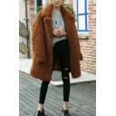 Plain Lapel Collar Long Sleeve Longline Tunic Faux Fur Coat