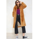 New Arrival Lapel Collar Long Sleeve Longline Light Yellow Faux Fur Coat