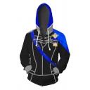 Hot Popular Black and Blue Cosplay Costume Colorblocked Long Sleeve Drawstring Zip Up Hoodie