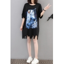 Womens Summer Round Neck Half Sleeve Cut Out Unicorn Floral Print Black Asymmetrical Shift Midi Dress