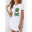 New Fashion Funny Letter Avocado Printed Short Sleeve Round Neck White Asymmetrical Sheath T-Shirt Mini Dress
