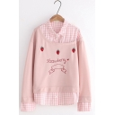 New Fashion Strawberry Letter Embroidered Patchwork Plaid Lapel Two-Piece Button decoration Long Sleeve Pullover Sweatshirt