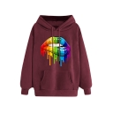 Fashion Colorful Lip Printed Long Sleeve Hoodie With Pocket
