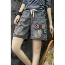 Sweet Womens Vintage Drawstring Waist Smile Face Embroidery Straight Denim Shorts