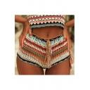 Hot Stylish Womens Tie Waist Striped Crochet Knitting Cutout Sexy Bikini Short