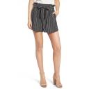 Hot Sale Summer Paperbag Waist Belt Tie Striped Print Wide Leg Tailored Shorts