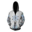 Fashion Comic Cosplay Costume White Snow Logo Pattern Zip Up Loose Fit Hoodie