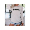 Hot Stylish Cool Unique Long Sleeve HOMEGIRL Letter Printed Loose Pullover Sweatshirt