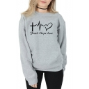 Chic Long Sleeve Round Neck Faith Hope Love Letter Printed Cotton Sweatshirt