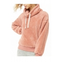 Womens Hot Fashion Pink Pile Heap Collar Long Sleeve Pullover Fluffy Fleece Sweatshirt