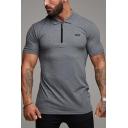 Hot Stylish Mens Short Sleeve Half-Zip Collar Letter Logo Cotton Slim Fit Polo T Shirt