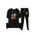 Popular Funny Colorful Geometric Figure Printed Hoodie with Joggers Pants Two-Piece Set