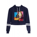 Hot Popular Colorful Geometric Figure Printed Stripe Long Sleeve Crop Hoodie