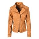 Womens Plain Lapel Collar Long Sleeve Zipper Front Button Embellished PU Biker Jacket