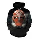 New Stylish Black Long Sleeve Star Wars Fire Metal Robot Printed Pullover Hoodie