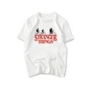 Stranger Things White Short Sleeve Round Neck Letter Printed Womens Chic T-Shirt