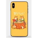 Funny Cute Cartoon Dog Shiba Inu Painting Yellow iPhone Case