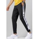 Men's New Fashion Contrast Stripe Side Letter Printed Drawstring Waist Trendy Sweatpants