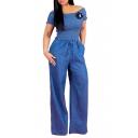 Blue Off Shoulder Short Sleeve Tie Waist Shirred Top Wide Leg Denim Jumpsuits