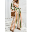 Womens Fashion Chic Long Sleeve Hollow Out Tie Waist Striped Wide Leg Holiday Jumpsuits