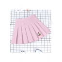 Cute Womens High Waist Duck Boat Embroidered Mini Pleated A-Line Skirt with Lining