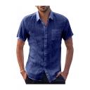 Mens Plain Short Sleeve Button Down Pocket Embellished Shirt