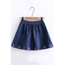 Summer Hot Fashion Elastic Waist Bear Footprint Embroidered Casual Loose Mini Denim Skirt