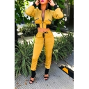 Long Sleeve Zip Front Cropped Coat with Drawstring Waist Pants Patch Yellow Two Piece Set