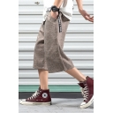 Men's Summer New Fashion Letter Ribbon Embellished Cropped Linen Wide Leg Pants