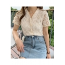 Summer New Arrival Chic Apricot Short Sleeve V Neck Single Breasted Sheer Lace T Shirt