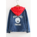 Funny Letter YOUR PLANET IS NEXT STAGE Patched Hooded Button Down Denim Jacket Coat
